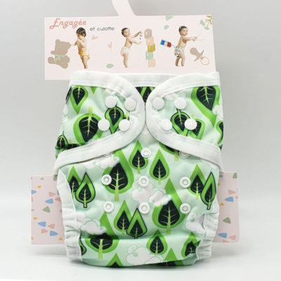 couche lavable tout en un bambou B'bies feuille vertes TE1b0950