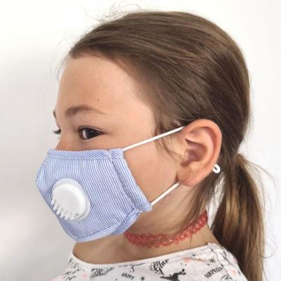 VEP4503-BLE Masque en tissu avec valve + 1 filtre b'bies